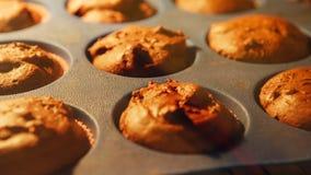 cupcake Het bakken in oven De lengte van de tijdtijdspanne van het koken van muffins 4k, UHD stock videobeelden