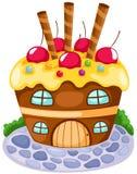 Cupcake house. Illustration of isolated cupcake house on white background Stock Photo