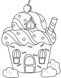 Cupcake house coloring page Royalty Free Stock Image