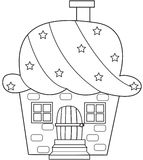Cupcake house coloring page Stock Photo