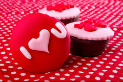Cupcake with I love you written on it Stock Photos