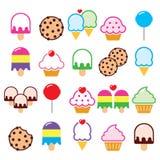Cupcake, ice-cream, cookie, lollipop icons Stock Photos