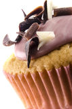 Cupcake with icing and chocolate curls Stock Photos
