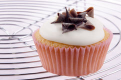 Cupcake with icing and chocolate curls Stock Photo
