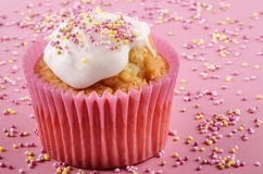 Cupcake with icing and colored sprinkles Royalty Free Stock Image
