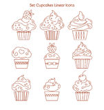 Cupcake icon. Dessert cake sign. Delicious bakery food symbol. L Royalty Free Stock Image