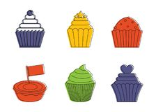 Cupcake icon set, color outline style stock illustration