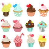 Cupcake icon set Royalty Free Stock Photography
