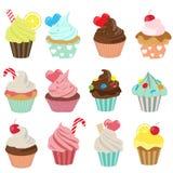 Cupcake icon set. Set of yummy cupcake, vector EPS 10 Royalty Free Stock Photography