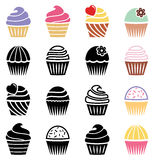 Cupcake icons, vector  Royalty Free Stock Photography