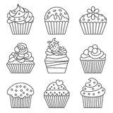 Cupcake icons. Cupcake set. Line style. Vector illustration Royalty Free Stock Photo