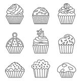 Cupcake icons. Cupcake set. Line style. Vector illustration Royalty Free Stock Images