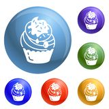 Cupcake icons set vector vector illustration