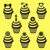 Cupcake icons Royalty Free Stock Photography