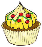 A cupcake. Illustration of an isolated a cupcake on a white background Stock Image