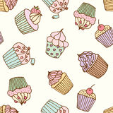 Cupcake illustration. Pastry set. Cupcakes pattern illustration. Seamless print with pastry set. Vector bakery background Stock Image