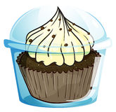 A cupcake inside the blue disposable container Royalty Free Stock Photos