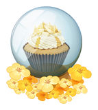 A cupcake inside the crystal ball Royalty Free Stock Photo