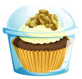A cupcake inside a transparent container Royalty Free Stock Photos