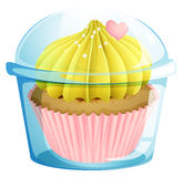 A cupcake inside the transparent container Royalty Free Stock Photography