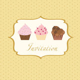 Cupcake invitation background Stock Photo