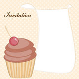 Cupcake invitation card Royalty Free Stock Images