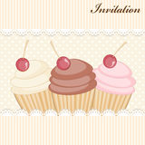 Cupcake invitation card Royalty Free Stock Photography