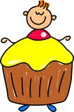 Cupcake kid. Happy little boy dressed up as a cupcake for a childrens birthday party - toddler art series Royalty Free Stock Images