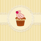 Cupcake and lace Royalty Free Stock Image