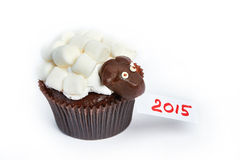 Cupcake lamb as simbol 2015 new years isolated Royalty Free Stock Photography