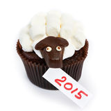 Cupcake lamb as simbol 2015 new years isolated Royalty Free Stock Images