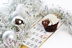 Cupcake lamb with calendar as simbol 2015 new years isolated Royalty Free Stock Photos