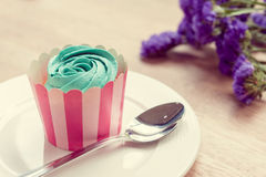Cupcake and lavender vintage color tone Stock Photo