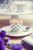 Cupcake and lavender vintage color tone Stock Image
