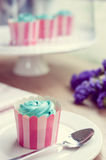 Cupcake and lavender vintage color tone Royalty Free Stock Photography