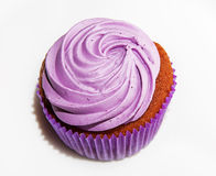 Cupcake with lilac cream Stock Photography