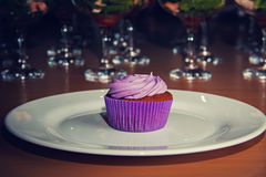 Cupcake with lilac cream Royalty Free Stock Image
