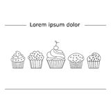 Cupcake linear style. Design postcards or flyers. Performed in a linear style. Vector illustration Royalty Free Stock Photography