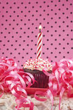 Cupcake With Lit Candle Royalty Free Stock Images