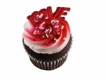 Cupcake love. Cupcake with love isolated on a white background Royalty Free Stock Image