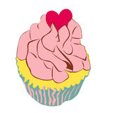 Cupcake with love heart Royalty Free Stock Photography