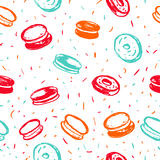 Cupcake, macaroon and muffin bright hand drawn seamless pattern. Hand drawn items collection. Vector illustration for Stock Images