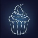 Cupcake made up a lot of diamonds Royalty Free Stock Images