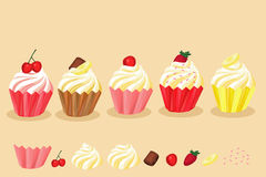 Cupcake many flavor Stock Image