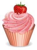 Cupcake met aardbei royalty-vrije illustratie