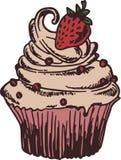 Cupcake met aardbeiencake Royalty-vrije Stock Foto's