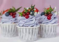 Cupcake met bessen en mascarpone stock afbeelding