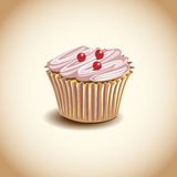 Cupcake met chocoladeroom. Stock Foto's