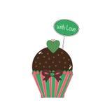 Cupcake met groene liefde Stock Afbeelding