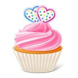 Cupcake met harten Stock Afbeeldingen
